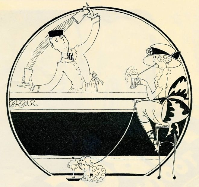 "Pen and ink drawing by renowned 1920s illustrator, John Barbour from ""The Designer & The Woman's Magazine"" July 1921"