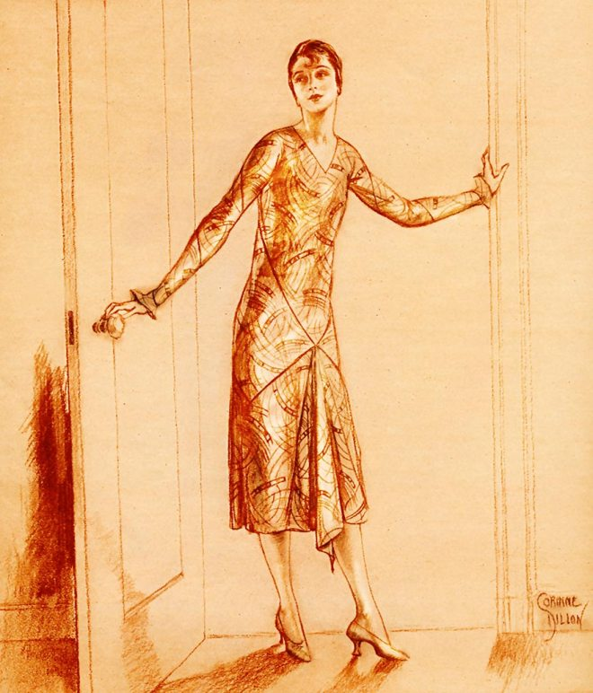 """Animation. Chicago."" Movement and rhythm are created within the lines of this dress using block printed silk. ""The material wraps spiral fashion around the arms to form the sleeves. Squarely cut pieces of the silk cross in the back, and pass around the hips. Animation is not a dress in which one might hunch one's shoulders and slump. It's graceful -- vivaciously graceful -- a frock like Chicago that demands that one step briskly."" 1926 July issue of Woman's Home Companion. Illustration by Corinne Dillon. Fashion designed by Isabel De Nyse Conover. Image enhanced. thegildedtimes.wordpress.com"