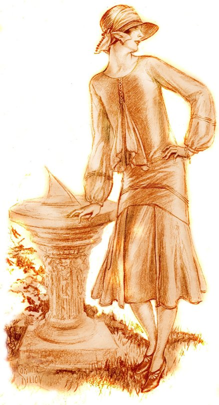 """According to Conover in the 1926 July issue of Woman's Home Companion, """"Gray is fashionable and so is San Francisco,"""" which was the city of  inspiration for this dress. Made from gray silk chiffon with filmy jabot, as soft and delicate as the wispy fog that floats across that city. Accessories are matching gray silk chiffon hat and gray kid leather slippers. Illustration by Corinne Dillon. Fashion designed by Isabel De Nyse Conover. Image enhanced. thegildedtimes.wordpress.com"""