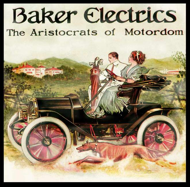Baker Electric color advertisement with woman driver who is taking her husband to the country club golf course.