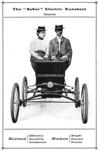 Actual photograph of one of Baker's first electric automobiles, 1901. Thanks to the Automotive Research Library, La Mesa, CA www.hcfi.org