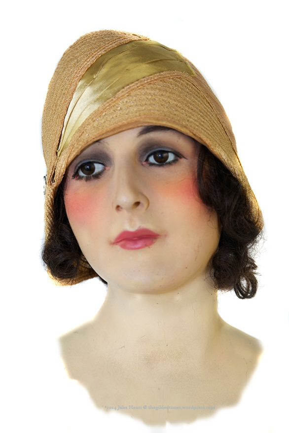 Geneviève, our circa 1918 French millinery mannequin models a woven horsehair horsehair cloche with silk band. The brooch is original to the hat. Photograph by Julia Henri thegildedtimes.wordpress.com
