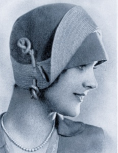 """Millinery fashion photograph by unknown photographer for Chicago Hat Mfg, published in """"The Illustrated Milliner"""" vol 29, 1928. The silhouette is quite similar to the design on Geneviève's cloche."""