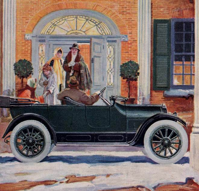 Commercial illustration by unknown artist for the Model 83-B Overland Roadster from the Willys-Overland Company, Toledo, Ohio. Page 29, The Designer Magazine, March 1916. Enhanced image. thegildedtimes.wordpress.com